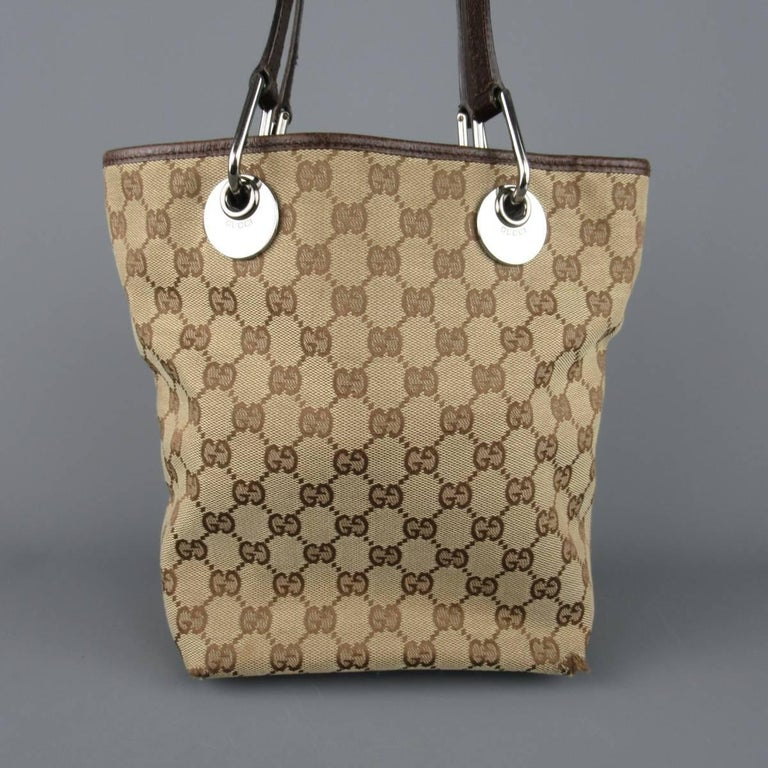 339d89c6b6e3 GUCCI Beige Guccissima Monogram Canvas Leather Handle Mini Tote Bag For Sale  1