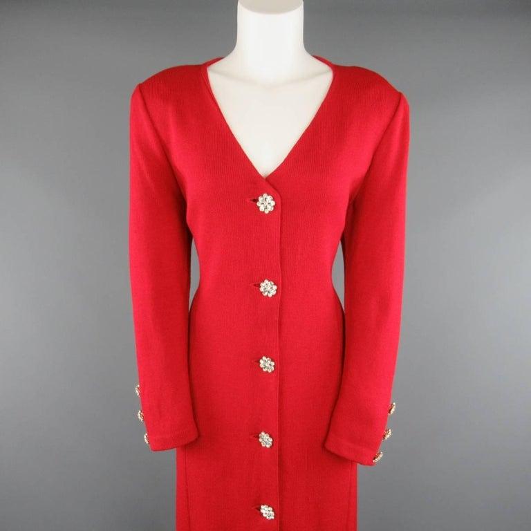 Vintage ST. JOHN Evening Size 10 Red Wool Knit Rhinestone Button ...