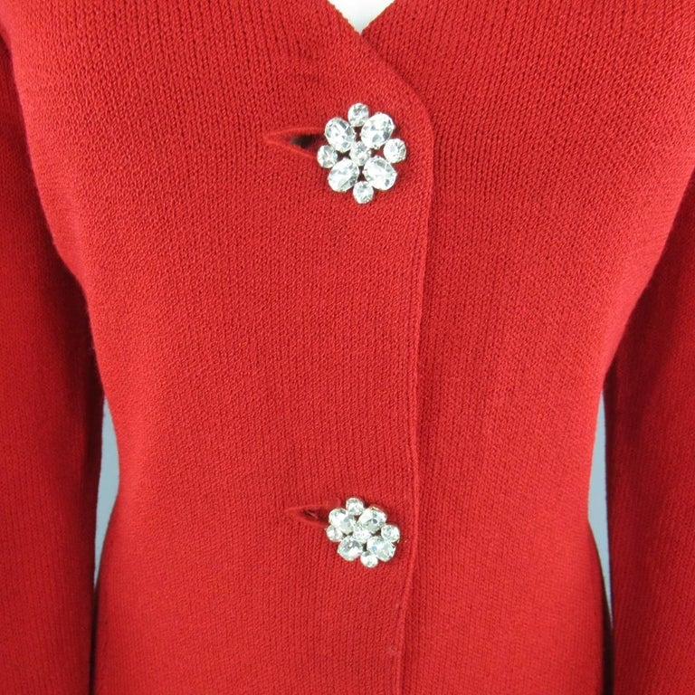 Vintage St John Evening Size 10 Red Wool Knit Rhinestone