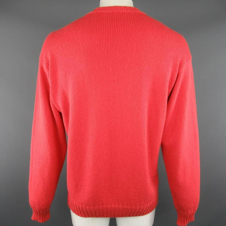 Men's LORO PIANA Size L Coral Red Knitted Cotton Crewneck Pullover Sweater For Sale 1