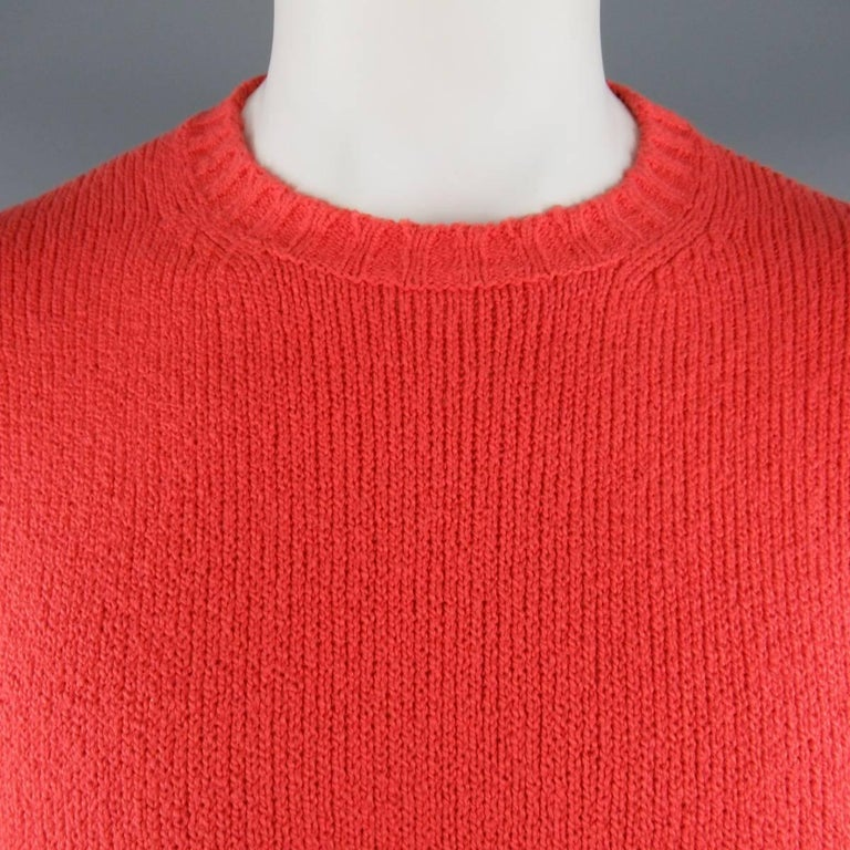Classic LORO PIANA pullover comes in a brilliant coral red cotton knit with a crewneck, drop shoulder,  and ribbed cuff and waistband.  Made in Italy.   Good Pre-Owned Condition. Marked: IT 52   Measurements:   Shoulder: 23 in. Chest: 48 in. Sleeve: