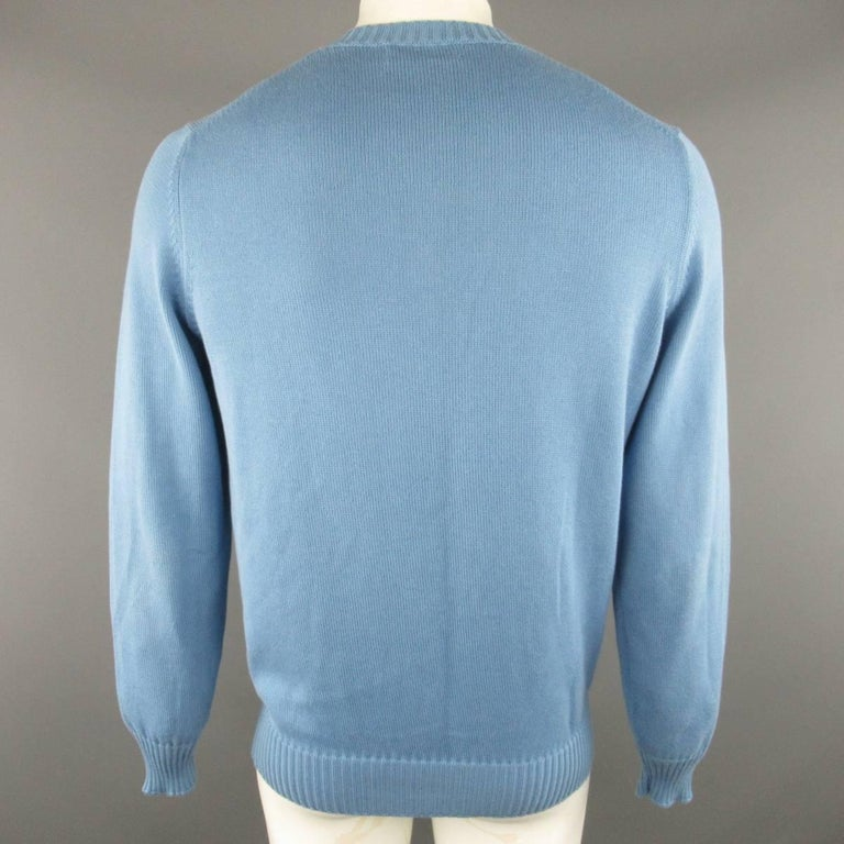 Men's BRUNELLO CUCINELLI Size L Blue Solid Cotton Knit Crewneck Pullover For Sale 1
