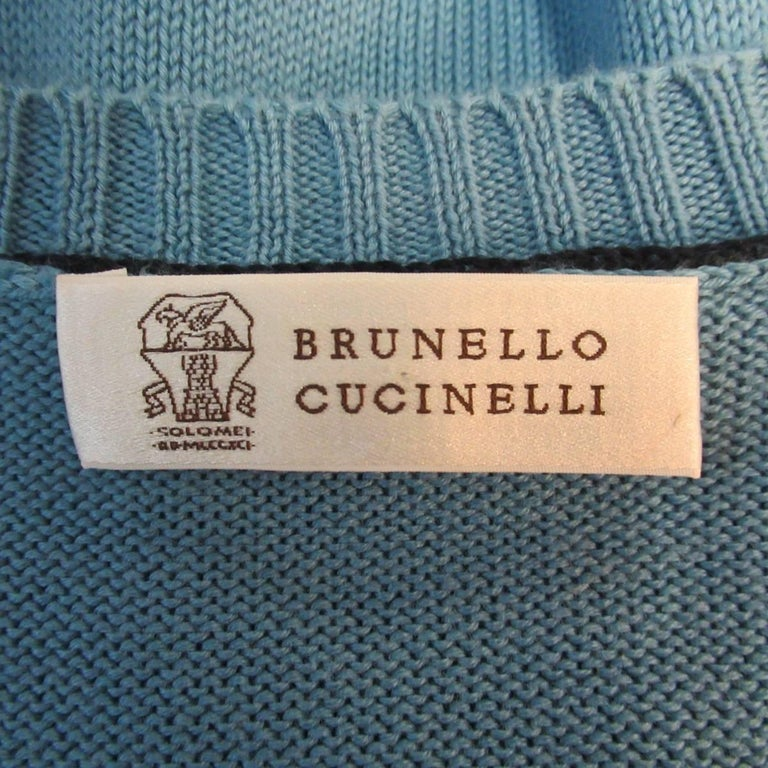 Men's BRUNELLO CUCINELLI Size L Blue Solid Cotton Knit Crewneck Pullover For Sale 2
