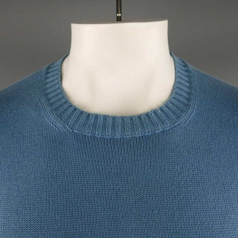 Men's BRUNELLO CUCINELLI Size L Blue Solid Cotton Knit Crewneck Pullover 2