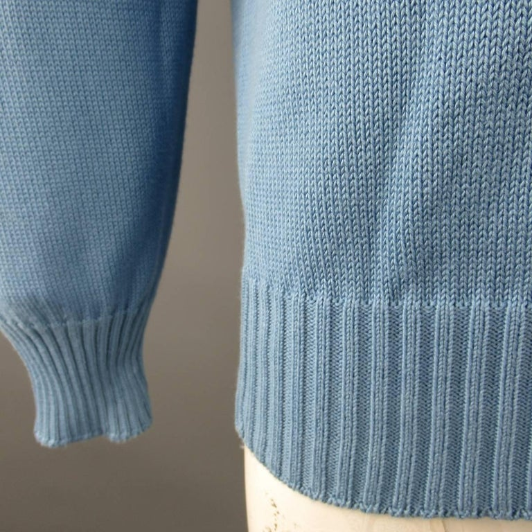 Men's BRUNELLO CUCINELLI Size L Blue Solid Cotton Knit Crewneck Pullover 3