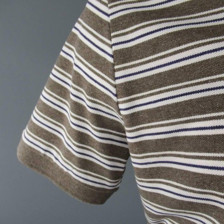 Gray Men's LORO PIANA Size XXL Taupe White & Navy Stripe Pique POLO For Sale