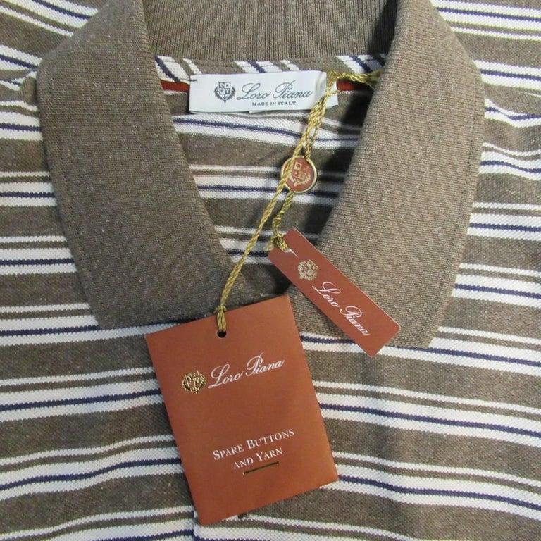 Men's LORO PIANA Size XXL Taupe White & Navy Stripe Pique POLO For Sale 2