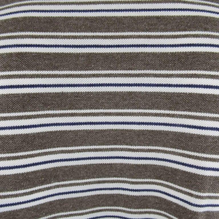 Men's LORO PIANA Size XXL Taupe White & Navy Stripe Pique POLO For Sale 1