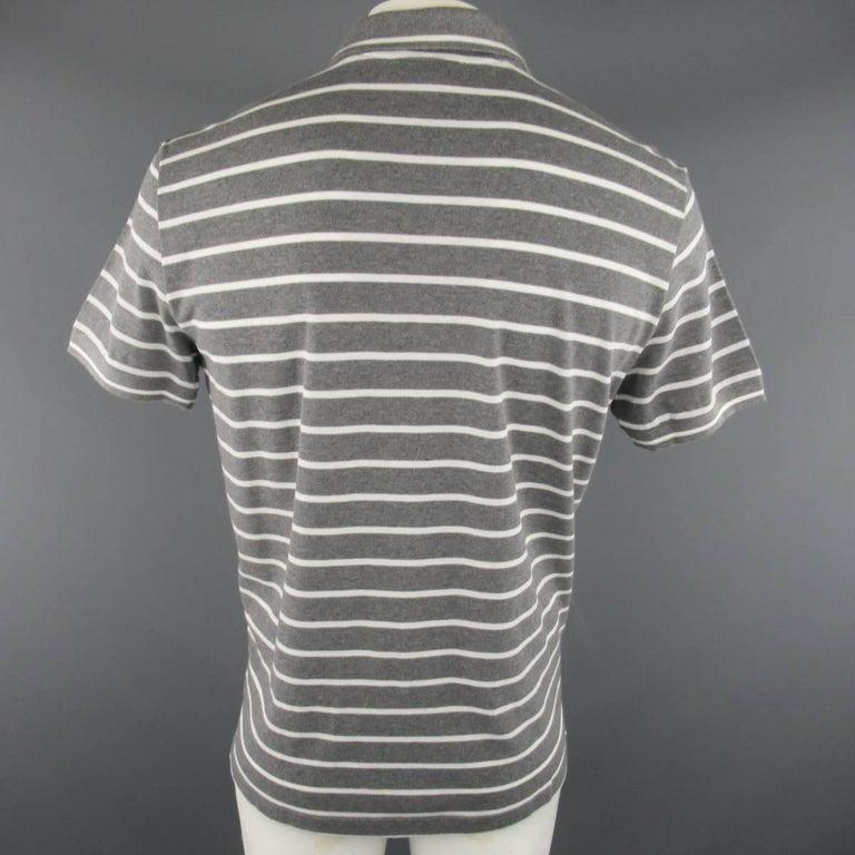 Gray Men's LORO PIANA Size XXL Grey & White Stripe Pique POLO For Sale