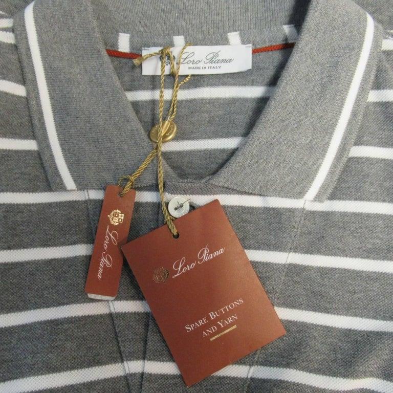 Men's LORO PIANA Size XXL Grey & White Stripe Pique POLO In New Condition For Sale In San Francisco, CA