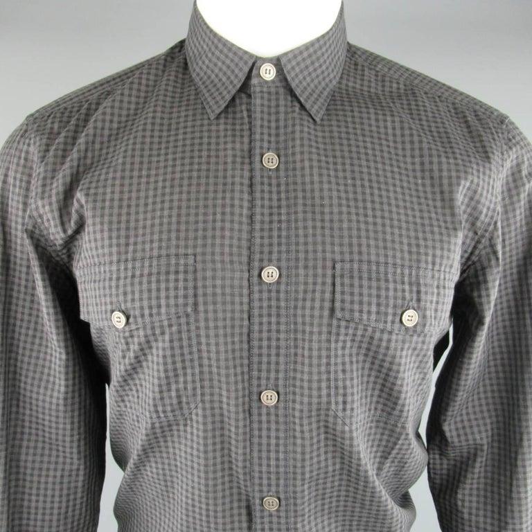 Men 39 s gucci size m grey and black checkered plaid cotton for Mens black plaid dress shirt