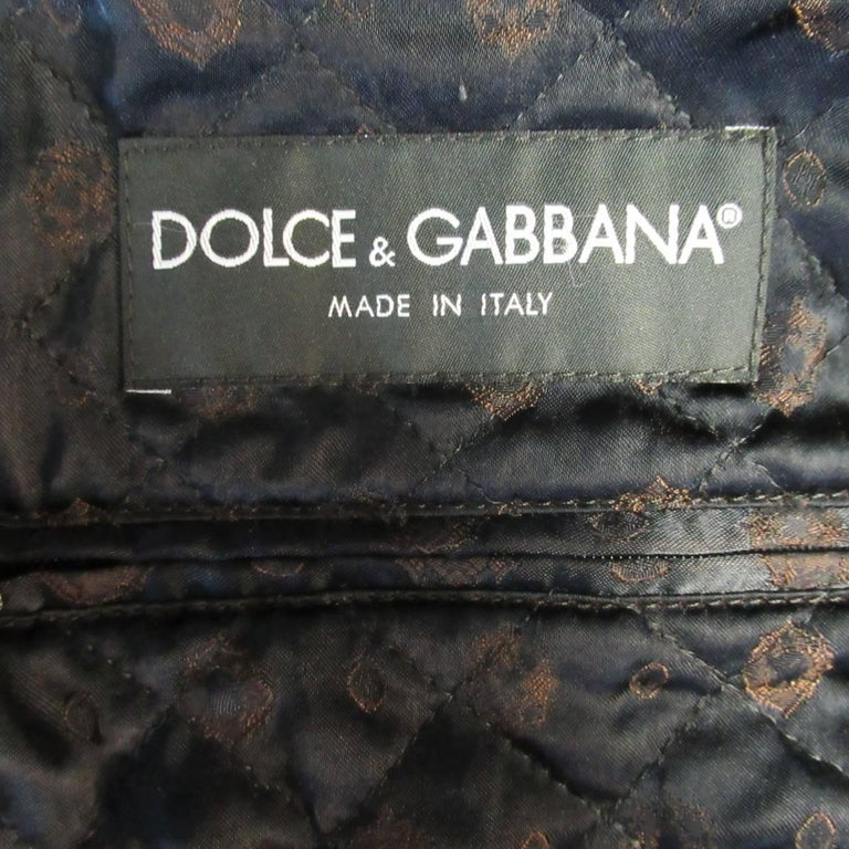 Men's DOLCE & GABBANA 42 Charcoal Herringbone Wool Blend Bomber Jacket For Sale 4