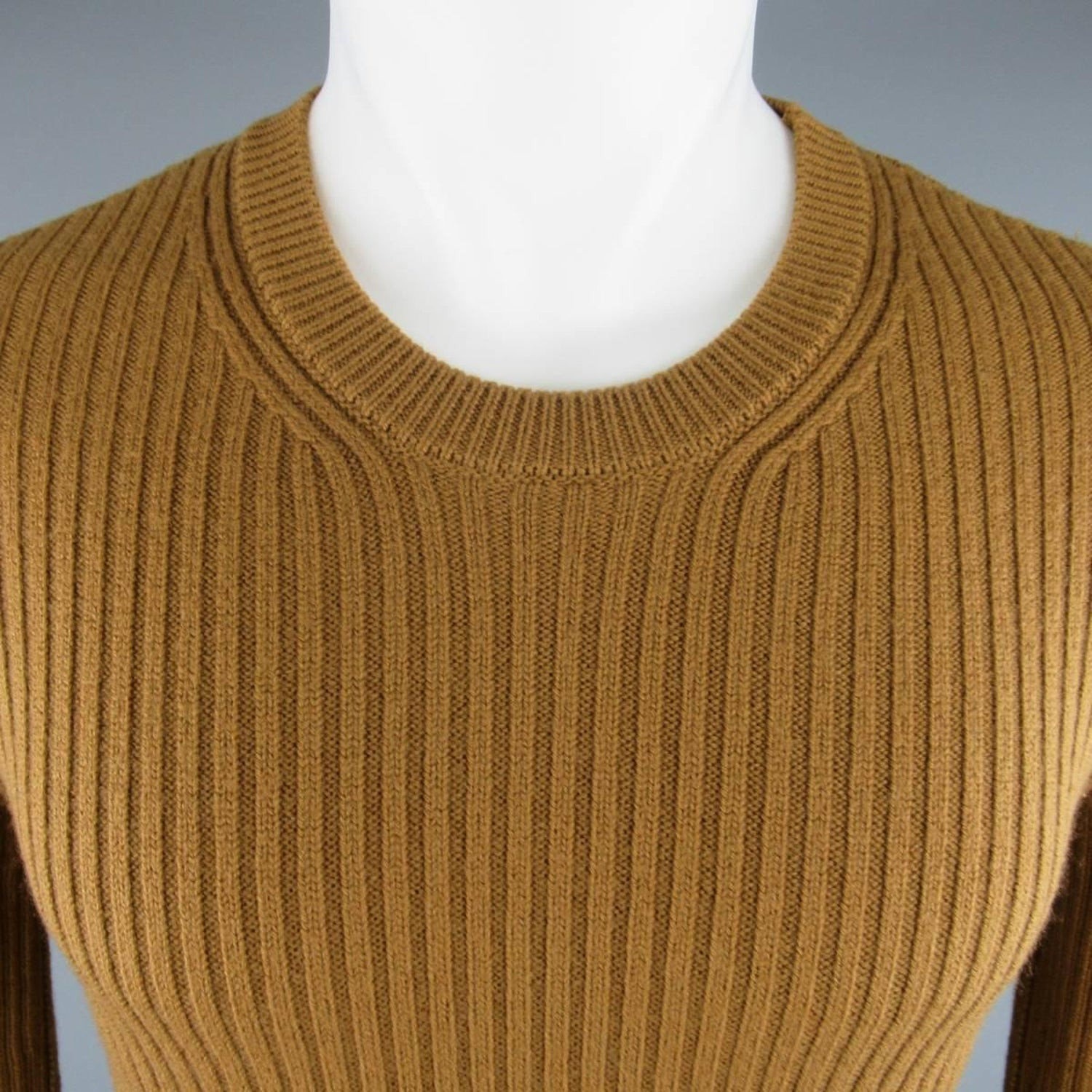 f5b3b367eb Men s DOLCE and GABBANA Size S Tan Ribbed Knit Wool Sweater at 1stdibs