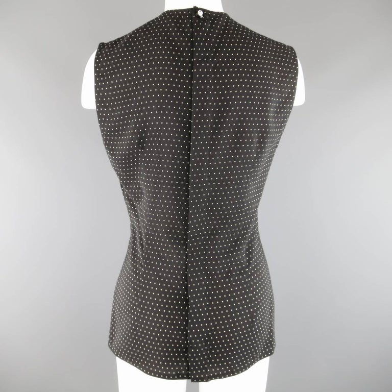 Vintage 1980s GIANNI VERSACE Size 6 Black Polka Dot Silk Sleeveless Blouse In Excellent Condition For Sale In San Francisco, CA