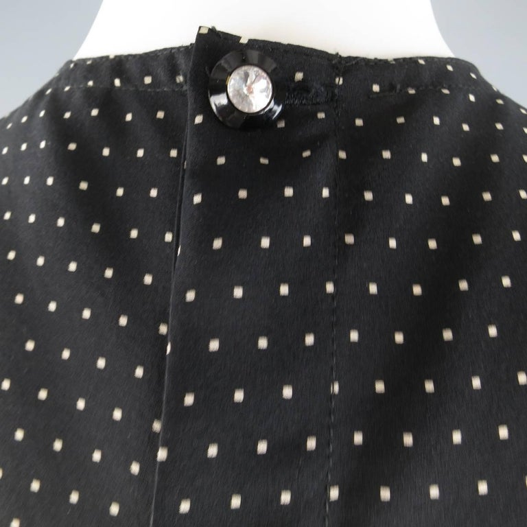 Women's Vintage 1980s GIANNI VERSACE Size 6 Black Polka Dot Silk Sleeveless Blouse For Sale