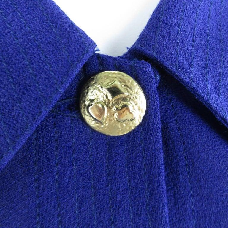 1980s gianni versace 6 purple large collar french cuff for Pin collar shirt double cuff