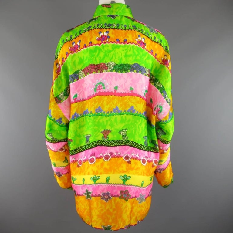 Women's or Men's GIANNI VERSACE Size L Multi-Color Watercolor Abstract Plant Print Silk Blouse For Sale