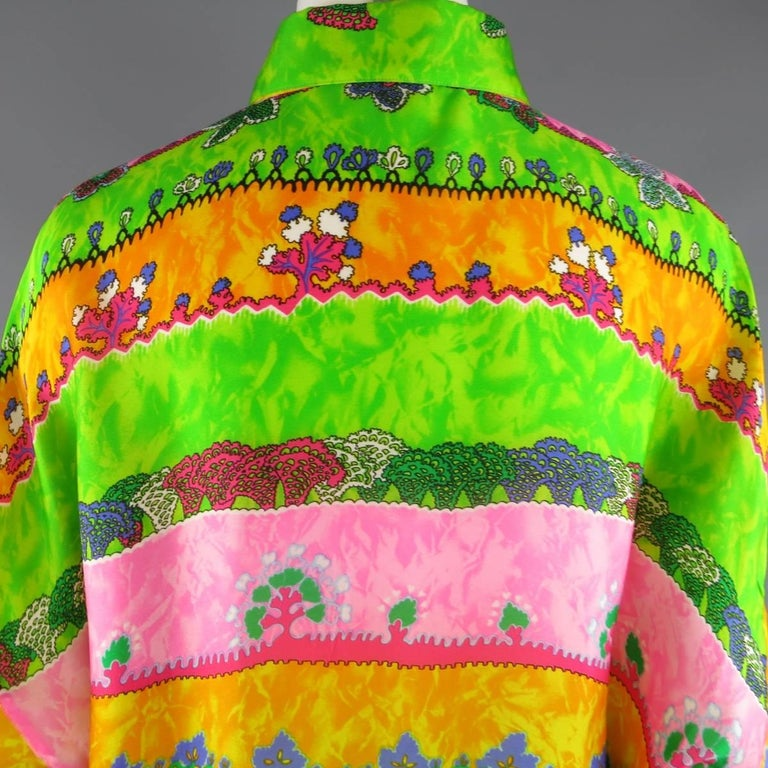 GIANNI VERSACE Size L Multi-Color Watercolor Abstract Plant Print Silk Blouse For Sale 1