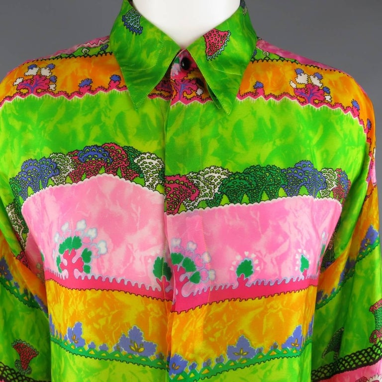 Yellow GIANNI VERSACE Size L Multi-Color Watercolor Abstract Plant Print Silk Blouse For Sale
