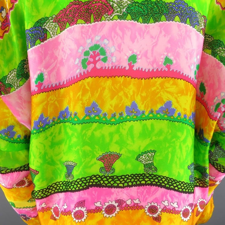 GIANNI VERSACE Size L Multi-Color Watercolor Abstract Plant Print Silk Blouse For Sale 2