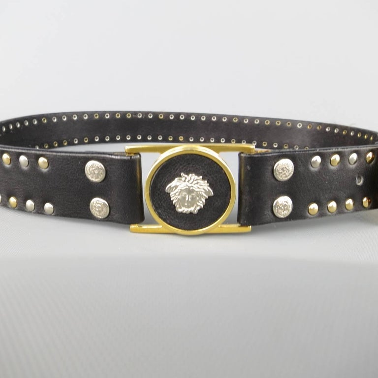 Women's or Men's GIANNI VERSACE Size 30 Black Gold & Silver Medusa Studded Leather Belt For Sale