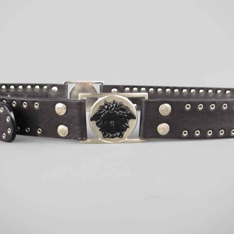 Women's or Men's GIANNI VERSACE 30 Black Grommet Leather Matte Silver & Black Medusa Belt For Sale