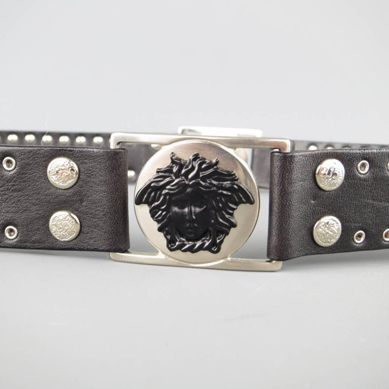GIANNI VERSACE 30 Black Grommet Leather Matte Silver & Black Medusa Belt For Sale 1
