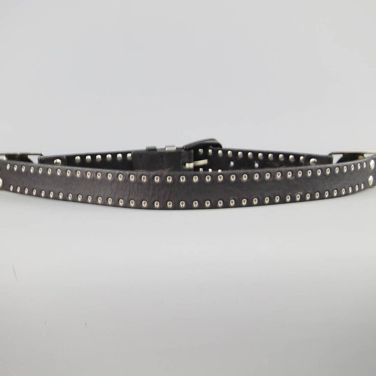 GIANNI VERSACE 30 Black Grommet Leather Matte Silver & Black Medusa Belt For Sale 3