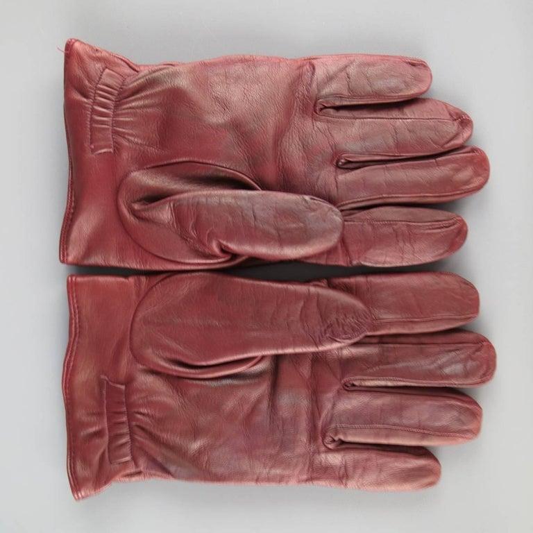 Men's GIORGIO ARMANI Size M Burgundy Lamb Skin Leather Gloves In Fair Condition For Sale In San Francisco, CA