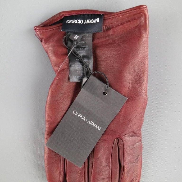 Men's GIORGIO ARMANI Size M Burgundy Lamb Skin Leather Gloves For Sale 1