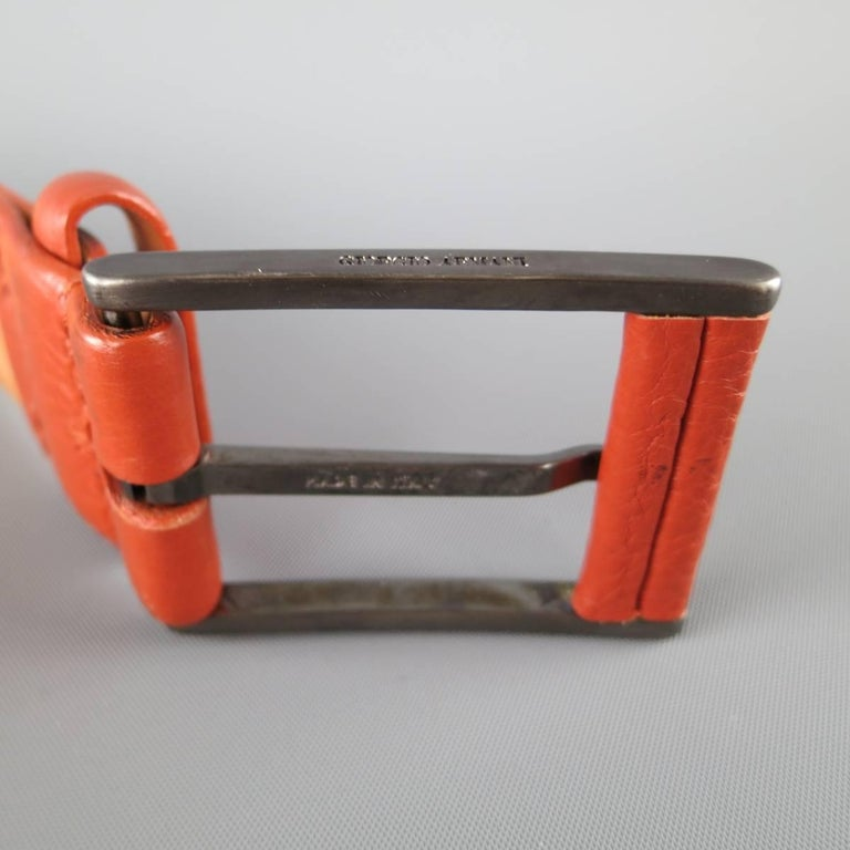 GIORGIO ARMANI Size 34 Burnt Orange Pebbled Leather Belt In Good Condition For Sale In San Francisco, CA