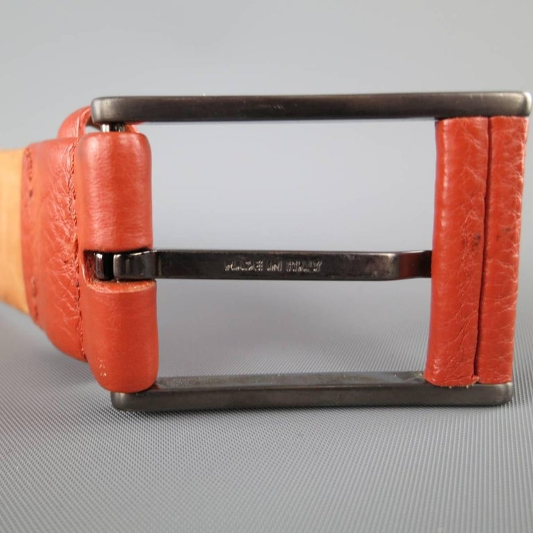 Men's GIORGIO ARMANI Size 34 Burnt Orange Pebbled Leather Belt For Sale