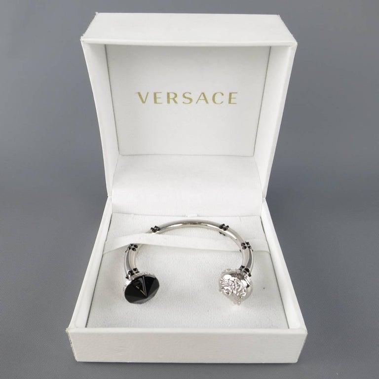 VERSACE Black Crystal Studded Silver Medusa Bracelet For Sale 4