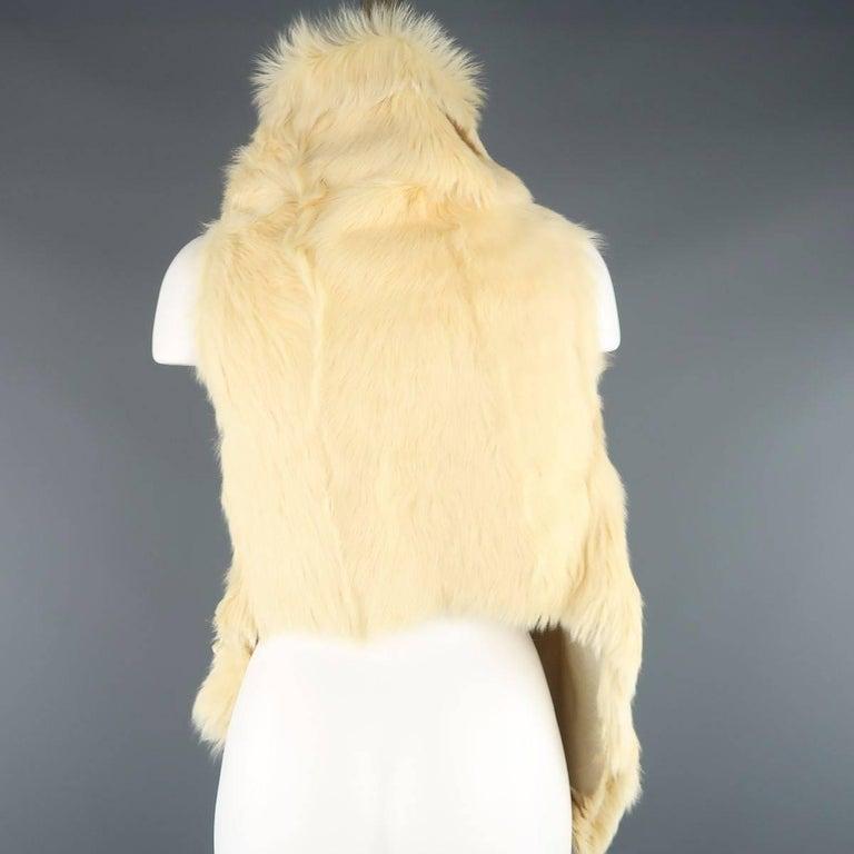 ANN DEMEULEMEESTER Size M Cream Beige Fur Shearling Wrap Vest 6