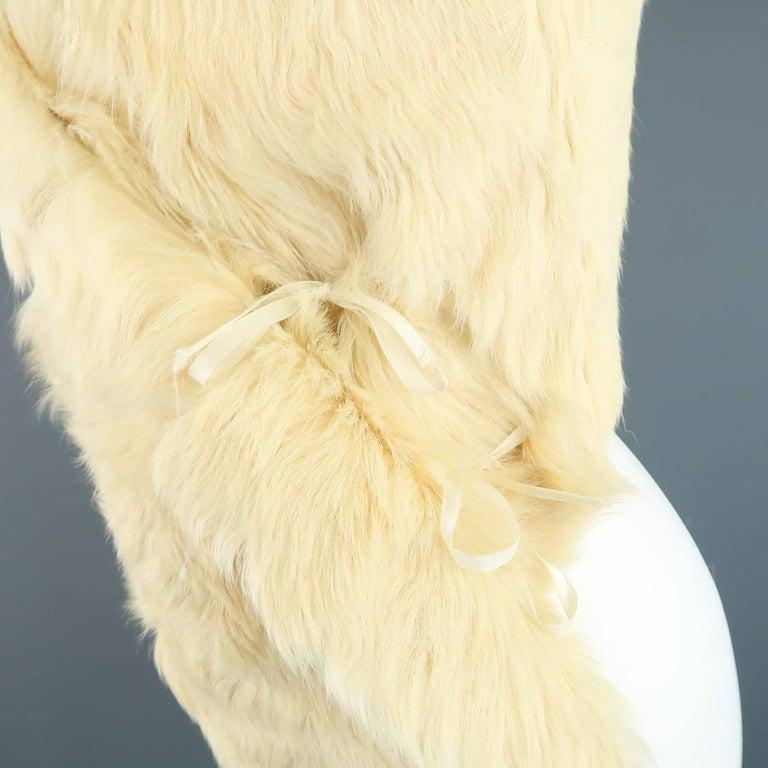 ANN DEMEULEMEESTER Size M Cream Beige Fur Shearling Wrap Vest 4