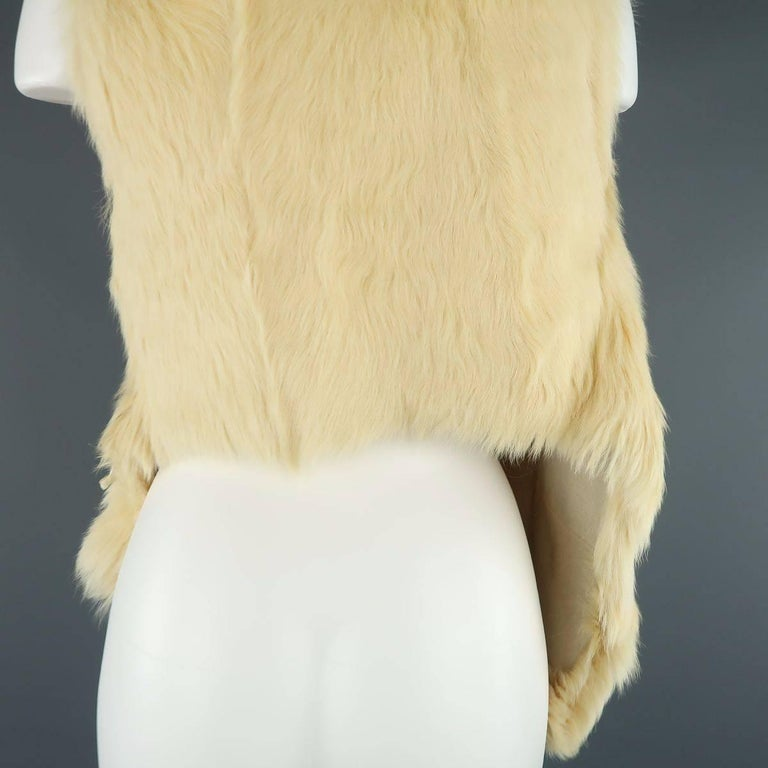 ANN DEMEULEMEESTER Size M Cream Beige Fur Shearling Wrap Vest 7