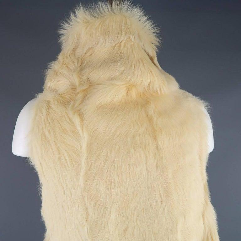 ANN DEMEULEMEESTER Size M Cream Beige Fur Shearling Wrap Vest 8