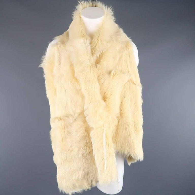 ANN DEMEULEMEESTER Size M Cream Beige Fur Shearling Wrap Vest 9