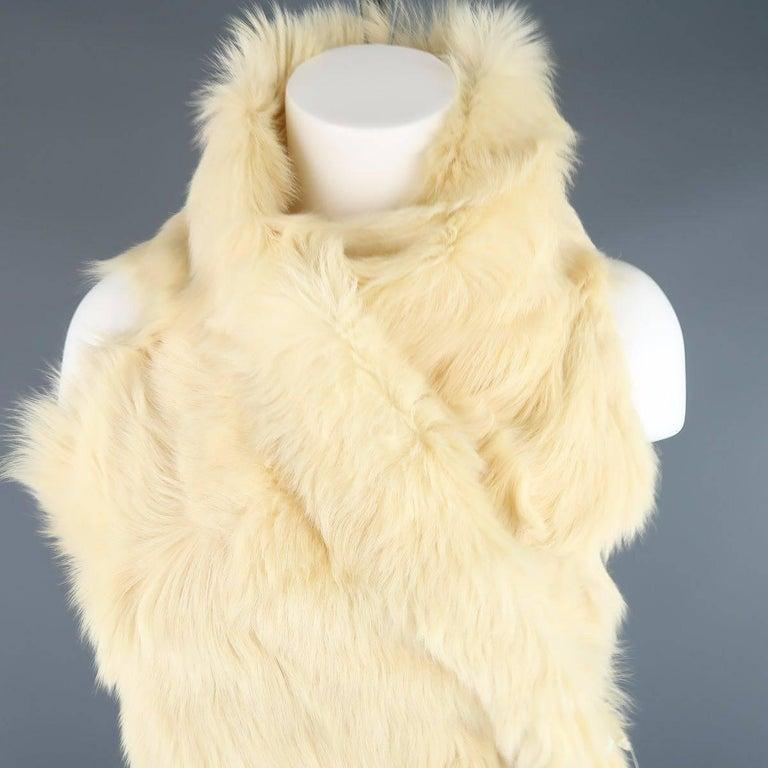ANN DEMEULEMEESTER Size M Cream Beige Fur Shearling Wrap Vest 2