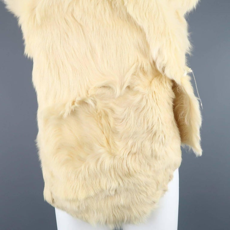ANN DEMEULEMEESTER Size M Cream Beige Fur Shearling Wrap Vest 5