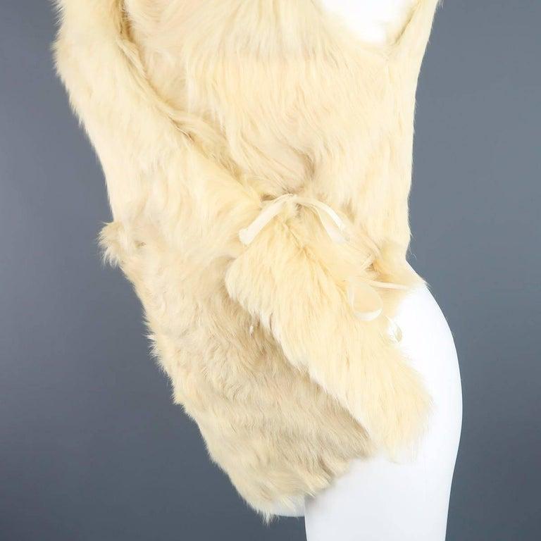 ANN DEMEULEMEESTER Size M Cream Beige Fur Shearling Wrap Vest 3