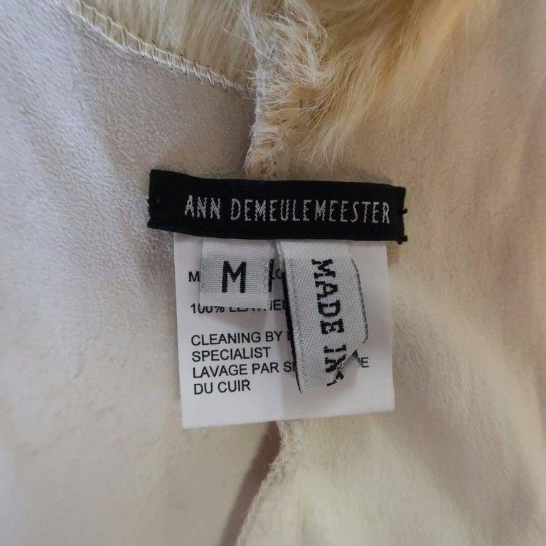 ANN DEMEULEMEESTER Size M Cream Beige Fur Shearling Wrap Vest 10
