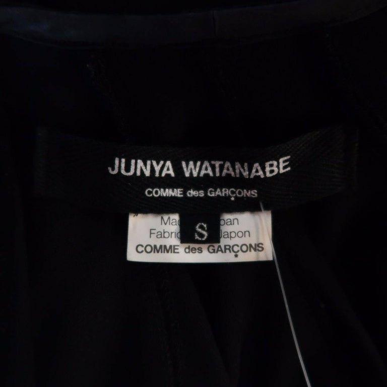 JUNYA WATANABE Size S Black Pleated Crepe Bubble Poncho Blouse For Sale 4