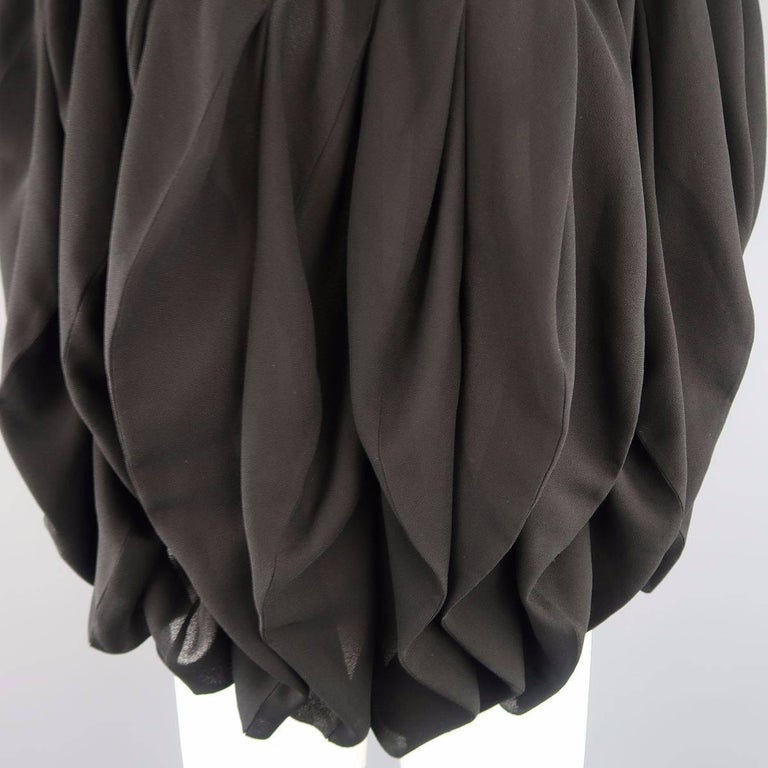 JUNYA WATANABE Size S Black Pleated Crepe Bubble Poncho Blouse In Excellent Condition For Sale In San Francisco, CA