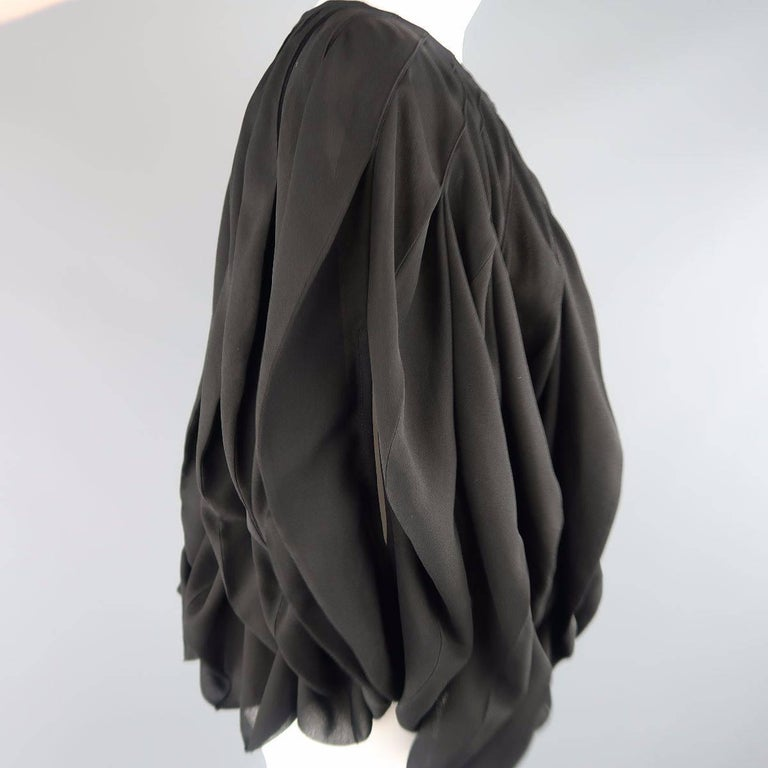 JUNYA WATANABE Size S Black Pleated Crepe Bubble Poncho Blouse For Sale 1