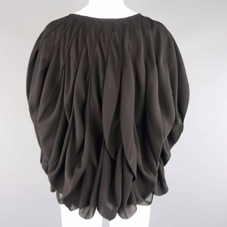 JUNYA WATANABE Size S Black Pleated Crepe Bubble Poncho Blouse For Sale 2