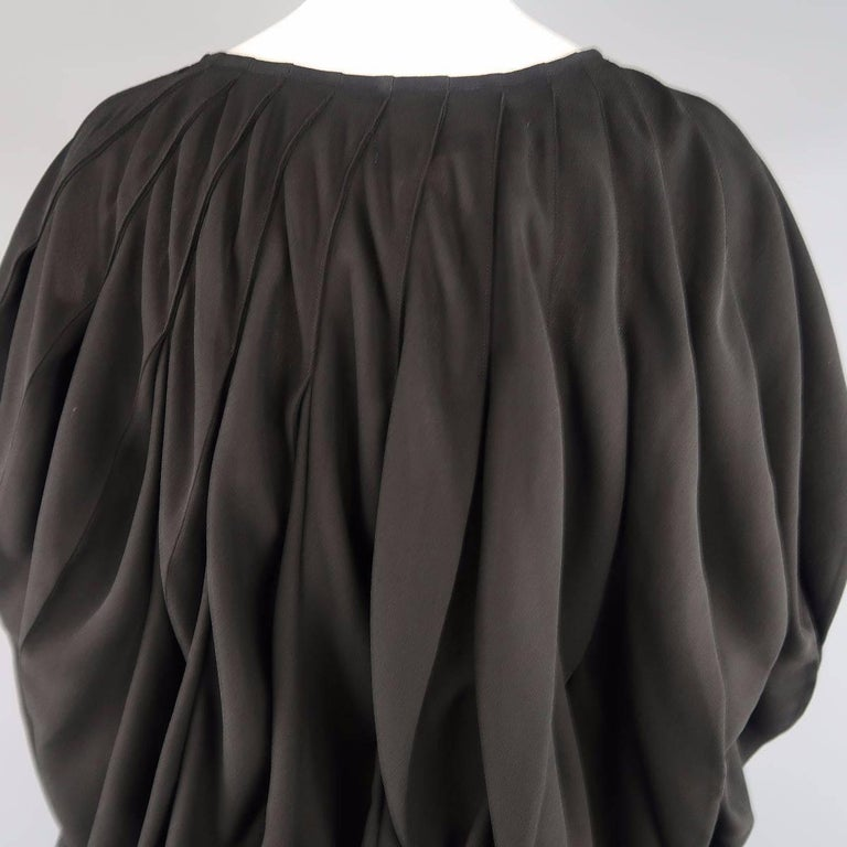 JUNYA WATANABE Size S Black Pleated Crepe Bubble Poncho Blouse For Sale 3