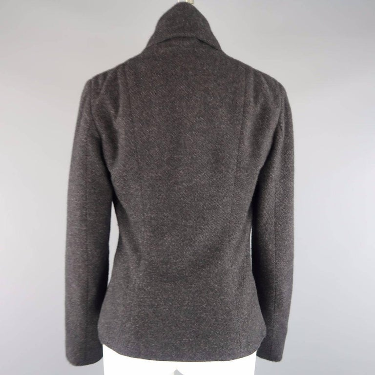 RALPH LAUREN Size 8 Charcoal Wool / Cashmere Shawl Collar Wrap Jacket In Excellent Condition For Sale In San Francisco, CA