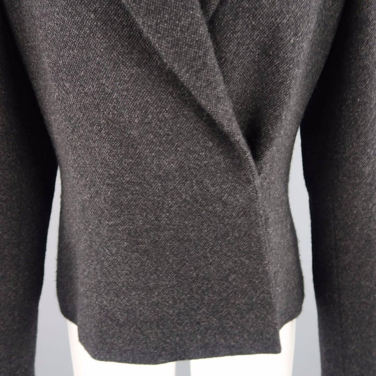 Black RALPH LAUREN Size 8 Charcoal Wool / Cashmere Shawl Collar Wrap Jacket For Sale