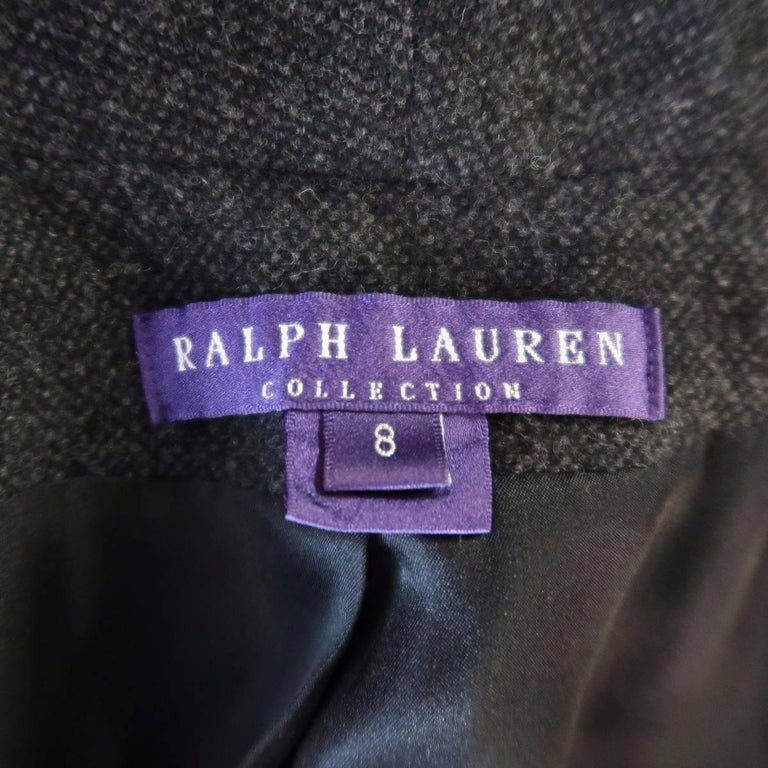 RALPH LAUREN Size 8 Charcoal Wool / Cashmere Shawl Collar Wrap Jacket For Sale 1